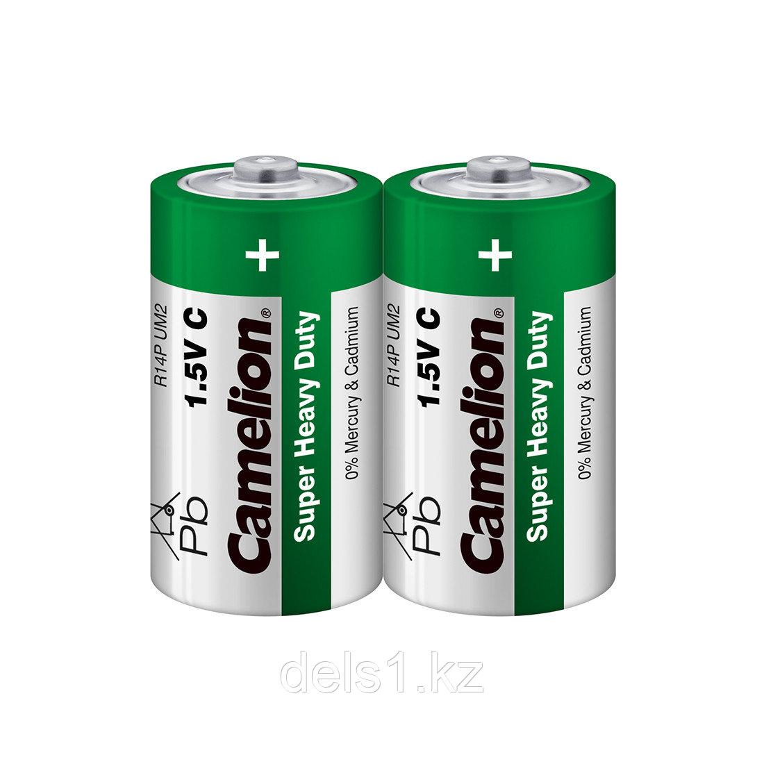 Батарейка, CAMELION, R14P-SP2G, Super Heavy Duty, C, 1.5V, mAh, 2 шт. в плёнке