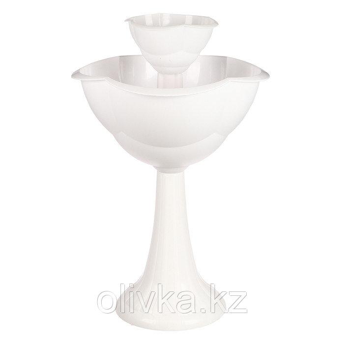 Клумба пластиковая, 2 яруса, d = 25–55 см, h = 87 см, на высокой ножке, белая