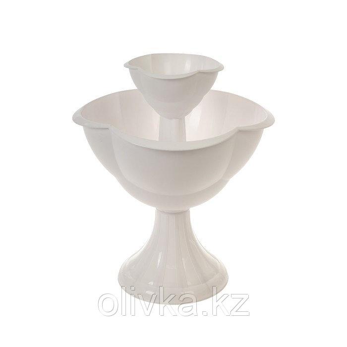 Клумба пластиковая, 2 яруса, d = 27–55 см, h = 60 см, белая, «Водопад»