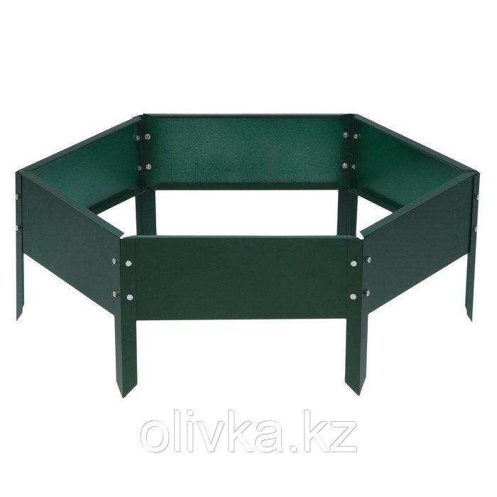 Клумба оцинкованная, d = 140 см, h = 15 см, зелёная, Greengo