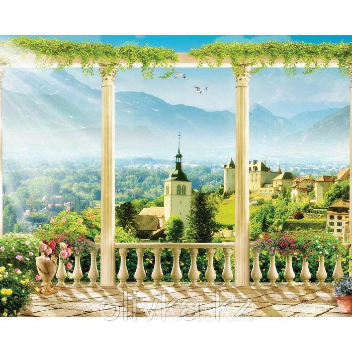 Фотобаннер, 250 × 200 см, с фотопечатью, люверсы шаг 1 м, «Терраса с видом на город»