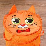 Корзина для игрушек «Котик», с ручками и крышкой, 33 х 43 см, фото 2
