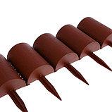 Ограждение декоративное, 24 × 100 см, 10 секций, пластик, коричневое, «Брёвнышко», фото 5