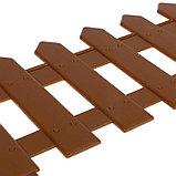 Ограждение декоративное, 30 × 196 см, 4 секции, пластик, коричневое, «Палисадник», фото 3