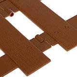 Ограждение декоративное, 30 × 196 см, 4 секции, пластик, коричневое, «Палисадник», фото 4