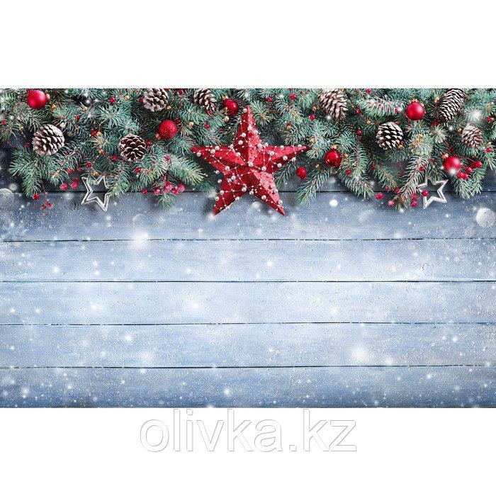 Фотобаннер, 300 × 200 см, с фотопечатью, люверсы шаг 1 м, «Хвойная гирлянда со звёздами»