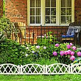 Декоративное ограждение для дачи и сада, 35 × 232 см, 4 секции, пластик, белое, MODERN, Greengo, фото 6