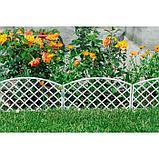 Декоративное ограждение для сада и огорода, 35 × 220 см, 5 секций, пластик, белое, ROMANIKA, Greengo, фото 4