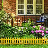 Декоративный забор для сада и огорода, 35 × 210 см, 5 секций, пластик, жёлтый, GOTIKA, Greengo, фото 6