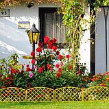 Ограждение декоративное, 35 × 220 см, 5 секций, пластик, жёлтое, ROMANIKA, Greengo, фото 3
