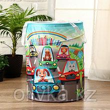 """Корзинка для игрушек """"Животные и машинки"""" 35×35×45 см"""