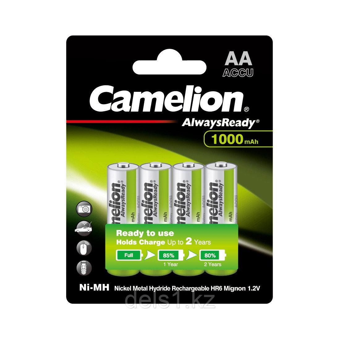 Аккумулятор, CAMELION, NH-AA1000ARBP4, AlwaysReady Rechargeable, AA, 1.2V, 1000 mAh, 4 шт., Блистер