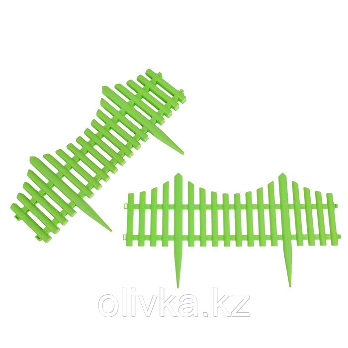 Ограждение декоративное, 30 × 300 см, 5 секций, пластик, салатовое