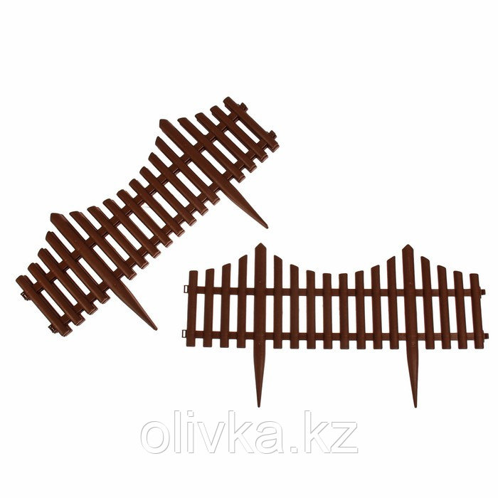 Ограждение декоративное, 30 × 300 см, 5 секций, пластик, коричневое