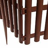 Ограждение декоративное, 30 × 300 см, 5 секций, пластик, коричневое, фото 5