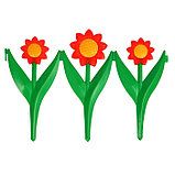 Декоративное ограждение для сада и огорода, 32,5 × 225 см, 5 секций, пластик, красный цветок, «Ромашка», фото 2