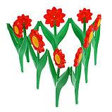 Декоративное ограждение для сада и огорода, 32,5 × 225 см, 5 секций, пластик, красный цветок, «Ромашка», фото 3