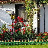 Ограждение декоративное, 30 × 225 см, 5 секций, пластик, жёлтый цветок, «Тюльпан», фото 6