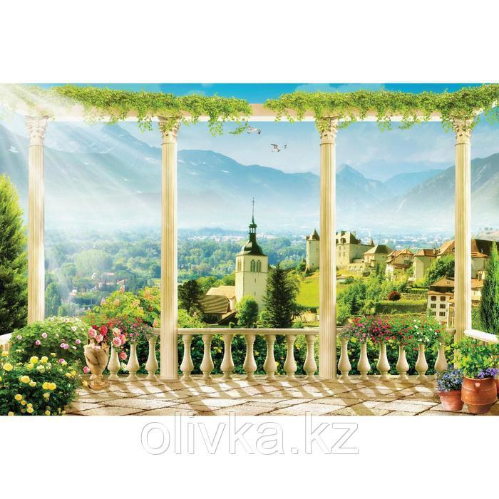 Фотобаннер, 300 × 200 см, с фотопечатью, люверсы шаг 1 м, «Терраса с красивым видом»
