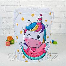 Корзина для хранения игрушек «Единорог и арбуз» 35×35×45 см