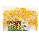 Ограждение декоративное, 32 × 300 см, 6 секций, пластик, жёлтое, фото 3