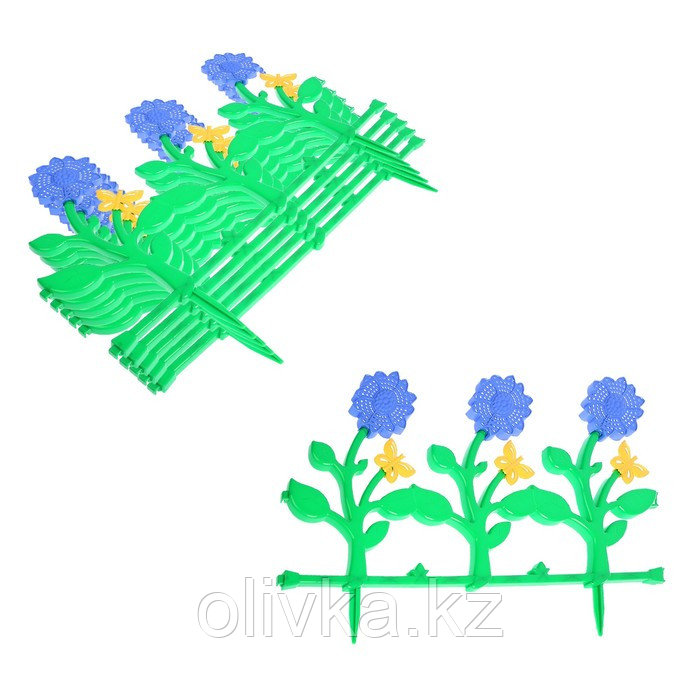 Ограждение декоративное, 36 × 330 см, 6 секций, пластик, цвет МИКС, «Цветник № 3»