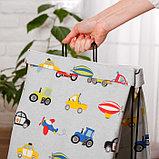 """Корзина для хранения игрушек """"Машинки"""" на каркасе 32×25×56 см, фото 2"""