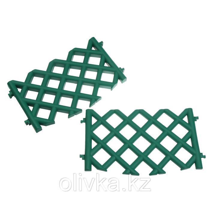Ограждение декоративное, 41 × 278 см, 4 секции, пластик, зелёное, BAROKKO, Greengo
