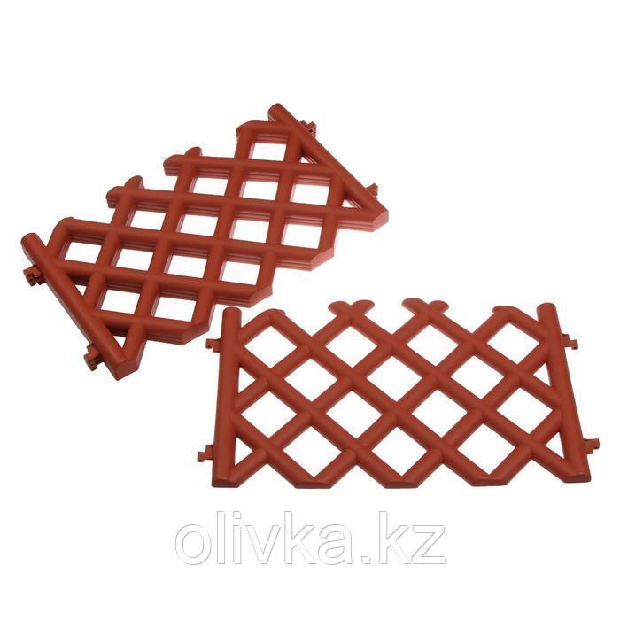 Ограждение декоративное, 41 × 278 см, 4 секции, пластик, коричневое, BAROKKO, Greengo
