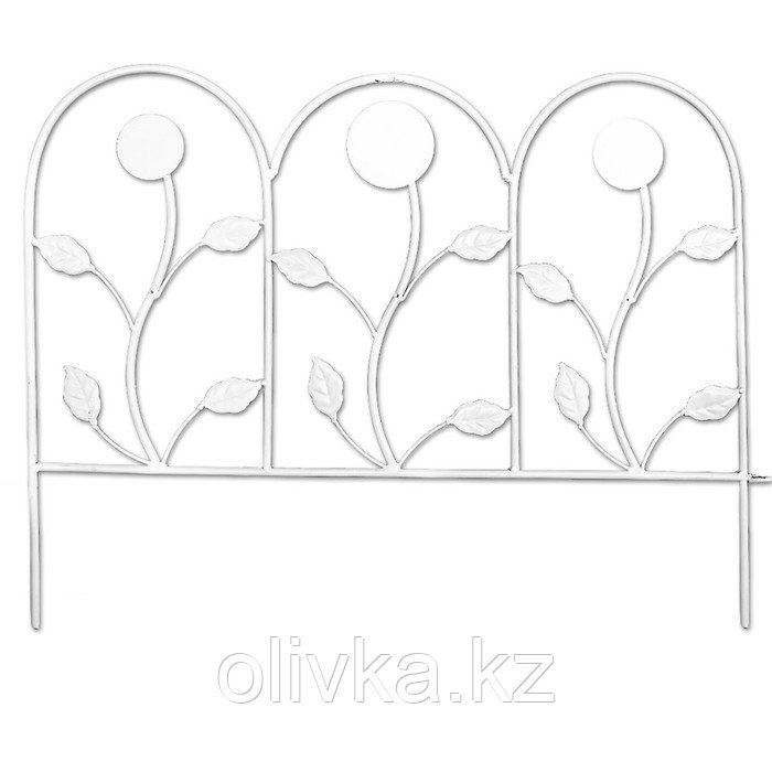 Ограждение декоративное, 54 × 62 см, 1 секция, металл, белое
