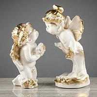 """Набор статуэток 2 шт. """"Ангел и мотылек"""", бело-золотистый цвет, 26 см"""