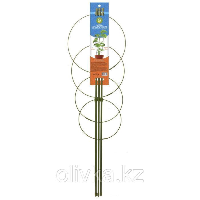 Опора для растений, 4 кольца, h = 90 см, d = 26-24-22-20 см, металл