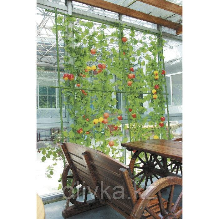 Опора для вьющихся растений, 1.8 × 2.1 м, в наборе: металлический каркас, сетка, зёлёный