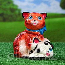 """Садовая фигура """"Коты с бантом"""", бело-рыжая, 25 см"""