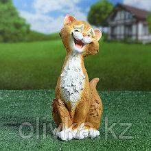 "Садовая фигура ""Забавный рыжий кот"" 11х14х25см"