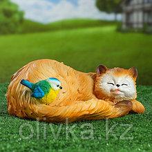 """Садовая фигура """"Кошка спящая с птичкой"""" 13х29см"""