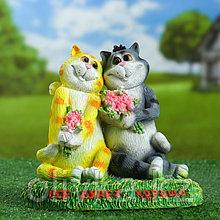 """Садовая фигура """"Кошки влюблённые Всё будет хорошо"""" 26см"""