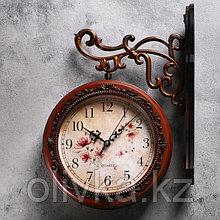 """Часы настенные двойные, серия: Садовые, """"Цветы"""", d=19 см"""