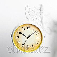 """Часы настенные двойные, серия: Садовые, """"Ксатива"""", белые, 38х9х43 см"""