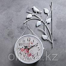 """Часы настенные двойные, серия: Садовые, """"Птичка на ветке"""", белые, d=23 см"""