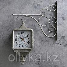 """Часы настенные двойные, серия: Садовые, """"Уличный фонарь"""", серебро, 40х31 см"""