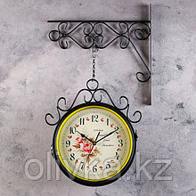 """Часы настенные двойные, серия: Садовые, """"Плиего"""", черные , 35х9х53 см, микс"""