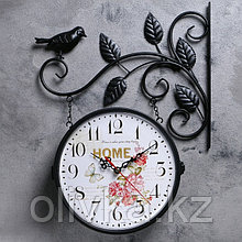 """Часы настенные двойные, серия: Садовые, """"Птичка на ветке"""", чёрные, d=23 см"""