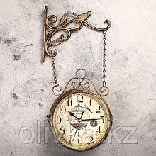 """Часы настенные двойные, серия: Садовые, """"Птичка в клетке"""", d=17 см, 23х44 см"""