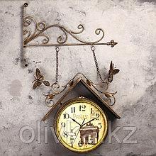 """Часы настенные двойные, серия: Садовые, """"Скворечник"""", 42х77 см"""