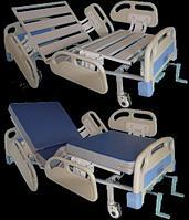 Кровать медицинская функциональная 4-х секционная с винтовой регулировкой, на колесах, спинки-пластик. ТВ-КМФ-