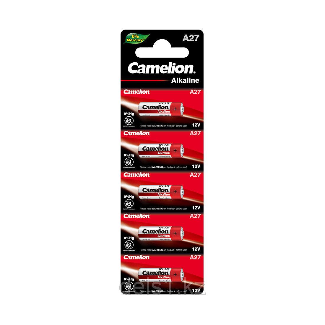 Батарейка, CAMELION,A27-BP5, 12V, 0% Hg (0% Ртути), 5 шт. в Блистере