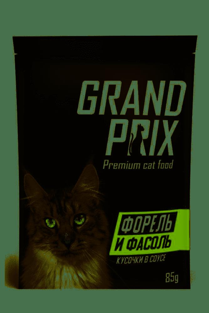Форель и фасоль, кусочки в соусе, Grand Prix, пауч 85гр.