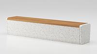 Скамейка из мраморного камня с деревянным настилом, модель: Onda bench