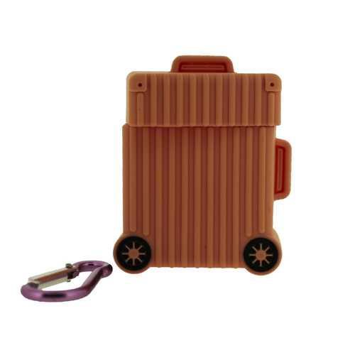 Чехол для Apple AirPods (чемодан), силиконовый, розовый